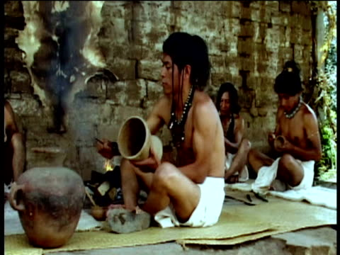 reconstruction of mayans decorating pottery - mayan stock videos & royalty-free footage