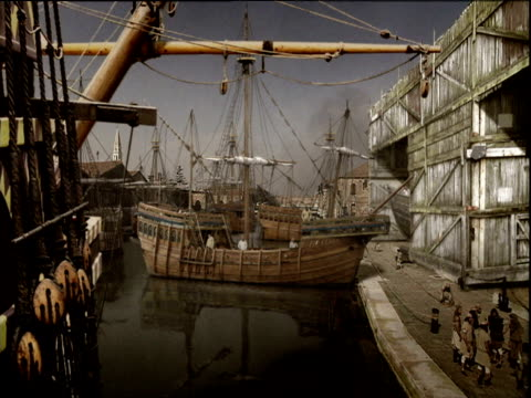 reconstruction of ship building yard venice; 1500's - ancient stock videos & royalty-free footage