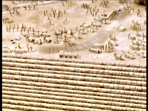 reconstruction tracking right along ancient egyptians building pyramids giza - rebuilding stock videos & royalty-free footage
