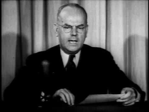 reconversion chief john w. snyder speaking / united states - 酋長点の映像素材/bロール