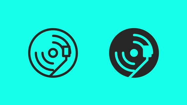 record player icons - vector animate - record player stock videos & royalty-free footage