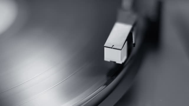 Record player with shallow depth of field