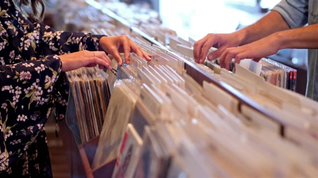record store - choosing stock videos & royalty-free footage