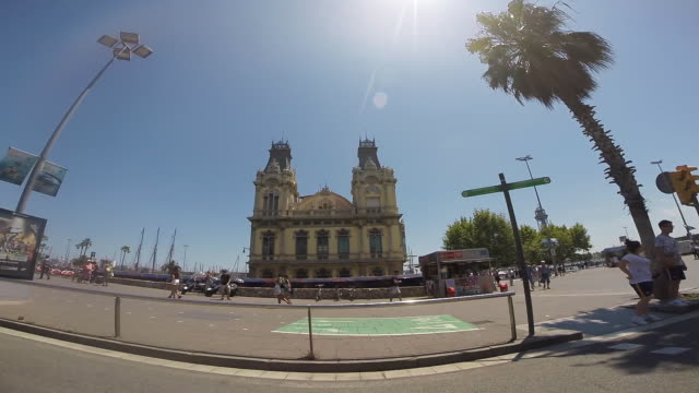 recording barcelona city streets with beautiful palm trees and boarwalk city from car point of view with motion in a sunny day and low traffic. - barcelona stock-videos und b-roll-filmmaterial