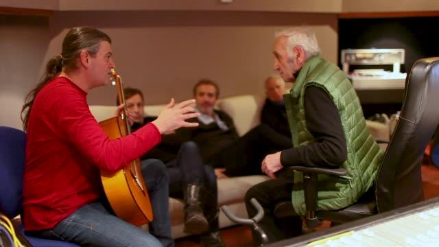 recording studio session of charles aznavour in october 2015 - låtskrivare bildbanksvideor och videomaterial från bakom kulisserna