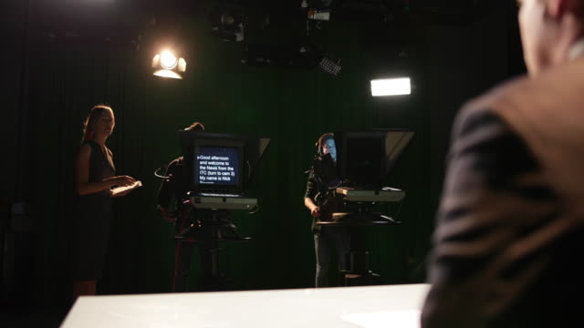 TV recording studio with auto queue ready