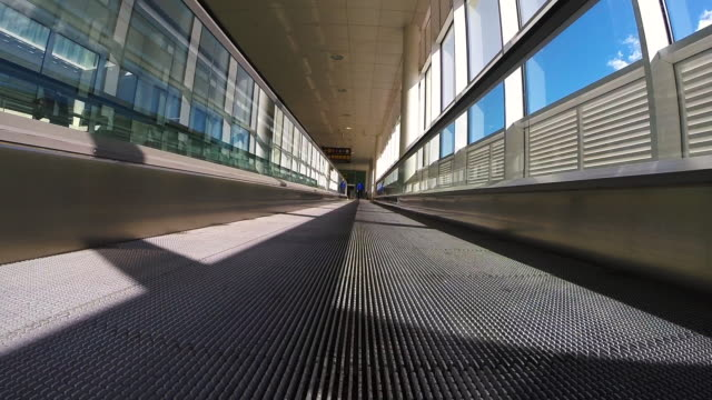 Recording the airport facilities from treadmill with nice vanishing point in the Barcelona city.