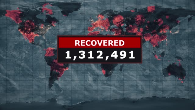 recovered virus graphic, novel coronavirus ncov spreading all over the world, worldwide flu epidemic spreads every continent, global deadly viral infection, satellite view of influenza virus affected areas. stock video - computer virus stock videos & royalty-free footage