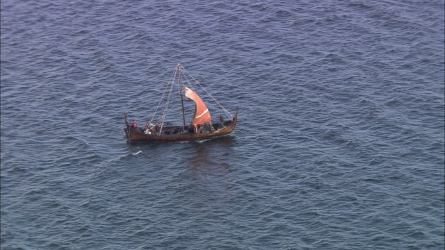 re-created viking longship (middle of lynn of lorn) - viking stock videos and b-roll footage