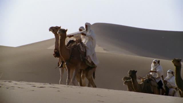 ms, pan, re-creation, africa, tuareg tribesmen riding camels in desert - 羊飼いの棒点の映像素材/bロール