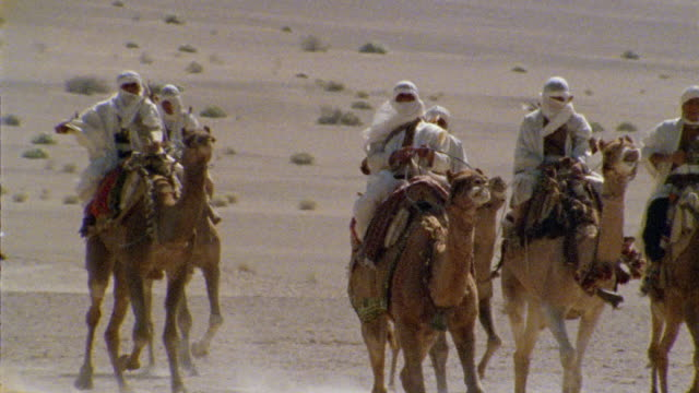 slo mo, cu, pan, re-creation, africa, tuareg troops riding camels in desert - arbeitstier stock-videos und b-roll-filmmaterial