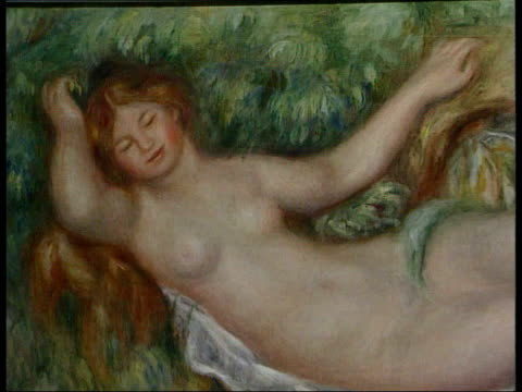 recreation of 1900 paris exhibition itn london royal academy painting of reclining nude woman - adagiarsi video stock e b–roll