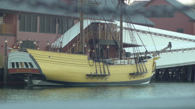 recreation of the beaver a boston tea ship - tea party stock videos and b-roll footage