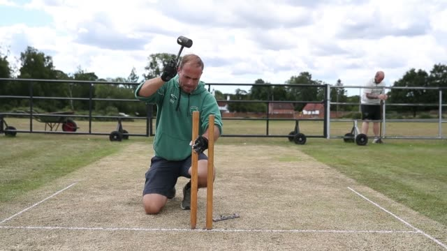 recreational cricket in england resumes after the department for digital, culture, media and sport published guidance to enable competitive... - cricket stump stock videos & royalty-free footage