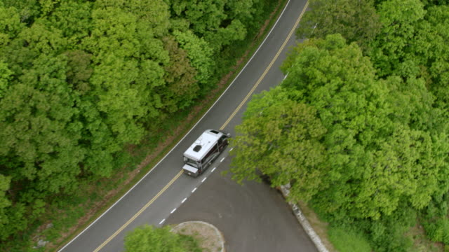 ws ts aerial pov recreational vehicle moving on mountain road in shenandoah national park / shenandoah valley, virginia, united states - motor home stock videos and b-roll footage