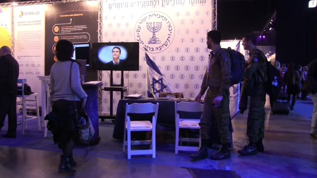 recruiting booth of the mossad the national intelligence agency of israel at the cybertech 2017 the second largest exhibition of cyber technologies... - computer software stock videos & royalty-free footage