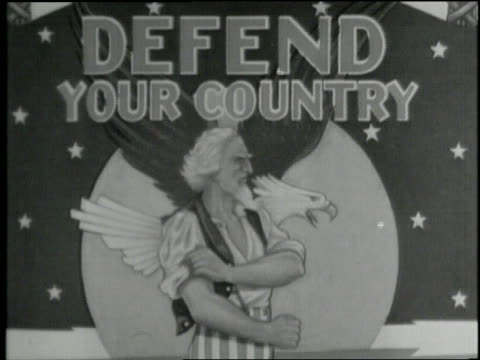 recruitment posters encourage citizens to fight in world war ii. - employment issues stock videos & royalty-free footage