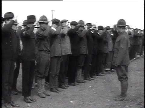 recruits standing in line learning how to salute / camp sherman chillicothe ohio united states - chillicothe stock videos & royalty-free footage