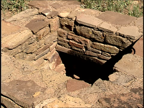 stockvideo's en b-roll-footage met rectangular stones were used to build a kiva pit in san juan national forest. - kiva