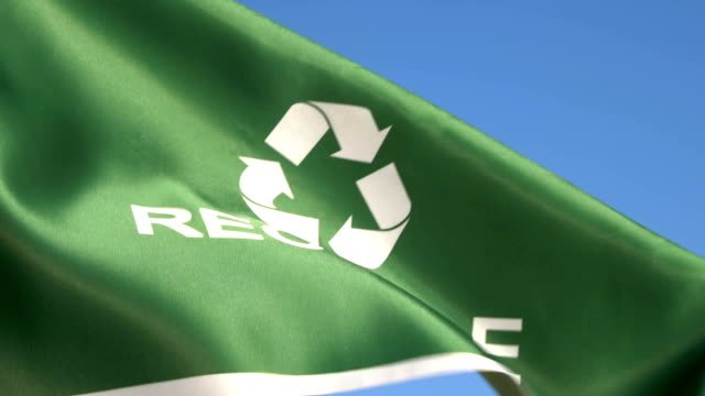 recycle flag waving in sky - electronics industry stock videos & royalty-free footage