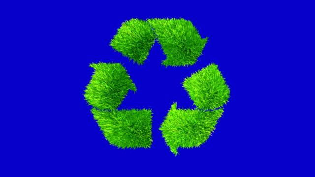 logo de recyclage fait avec palmiers herbe.