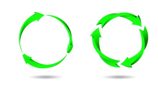 vídeos de stock, filmes e b-roll de sinal de reciclagem isolado em branco (loop 4k + chave chroma) - sinal de seta