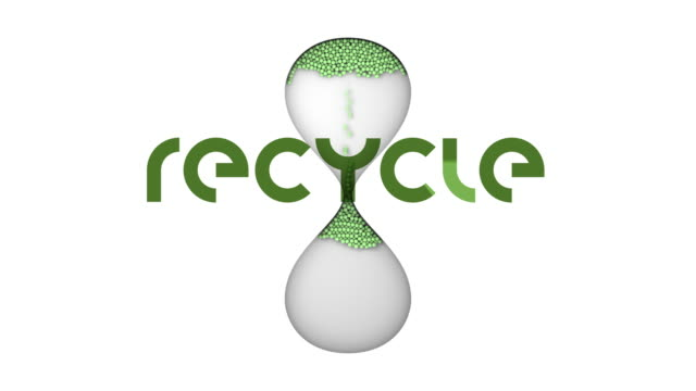 recycle text and sand timer hourglass - looping animated symbol - single word stock videos & royalty-free footage
