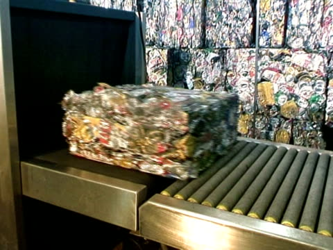 ms, recycled aluminum bales on conveyor belt - scientific imaging technique stock videos & royalty-free footage
