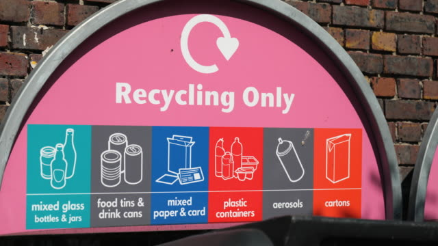 recycling bin sign - environmental conservation stock videos & royalty-free footage