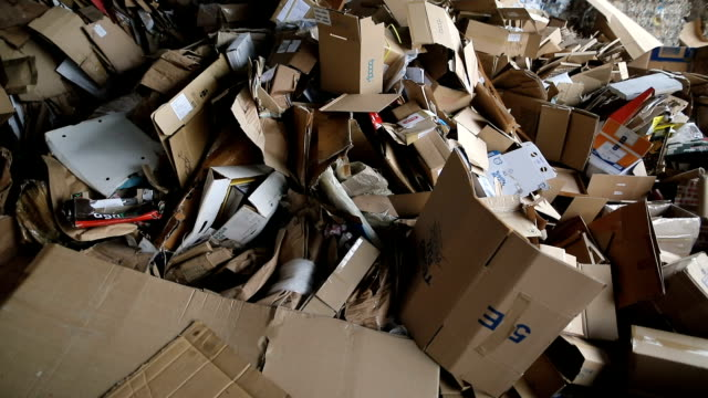 recycling center collects carton boxes - newspaper page stock videos and b-roll footage