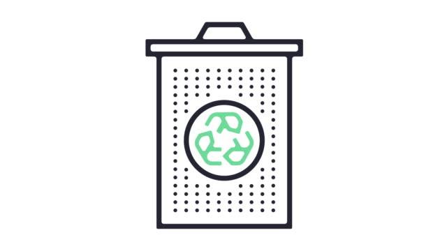 vídeos de stock e filmes b-roll de recycling icon animation - design plano
