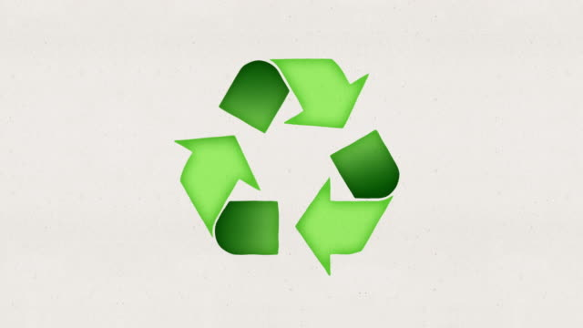 recycling logo - two organic paper style versions with alpha channel - triangle shape stock videos & royalty-free footage