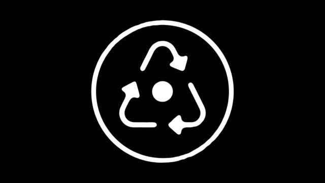 Recycling Symbol Blackboard Line Animation with Alpha