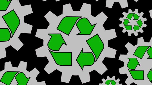 vídeos y material grabado en eventos de stock de reciclaje engranajes símbolo spinning fondo zoom - señal de flecha