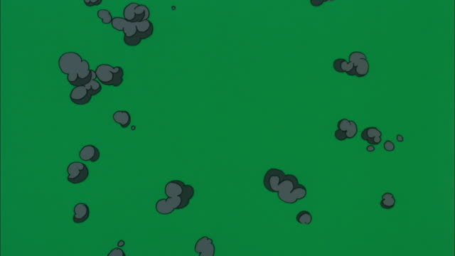 red and black cartoon explosions disappear in green background available in hd. - bomb stock videos & royalty-free footage