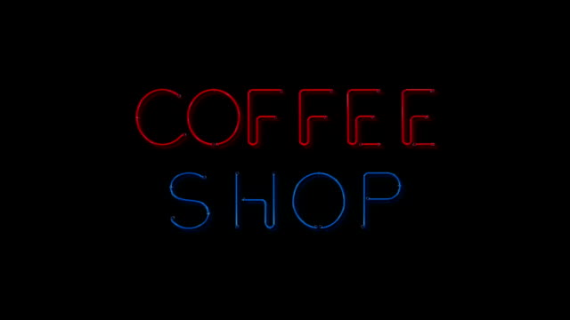 Red and blue Coffee Shop flshing neon sign