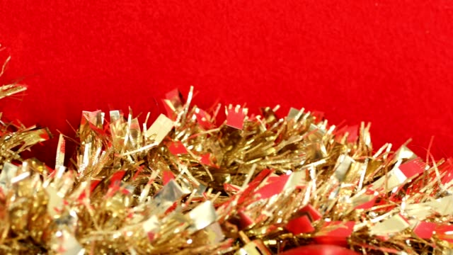 red and gold christmas holiday background. - tinsel stock videos & royalty-free footage