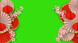 Red and white looping animation with Alpha channel form sakura, paper flowers, fans and lanterns