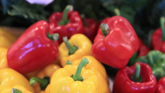 red and yellow bell peppers - red bell pepper stock videos & royalty-free footage