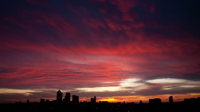 red and yellow dawn time lapse - east london stock videos and b-roll footage