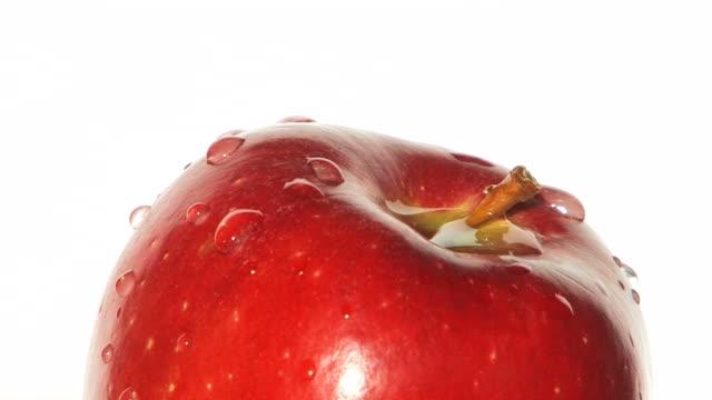 vídeos y material grabado en eventos de stock de manzana roja girando-primer plano - manzana