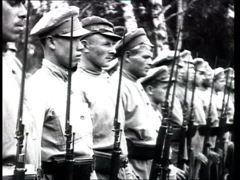 red army bread supply military drills unloading breadloaves soldiers at attention marching - history stock videos & royalty-free footage