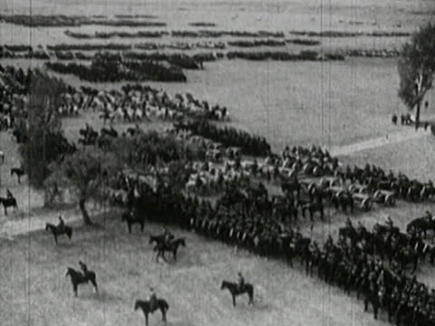Red Army horse troops lined up Semyon Budyonny horseback