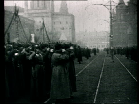 1925 B/W WS PAN Red Army soldiers marching on street in military parade/ Moscow, Russia