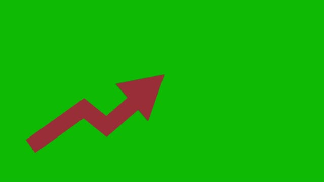 vídeos de stock e filmes b-roll de red arrow going up animated iconon green background. economic simple moving arow - arrow symbol