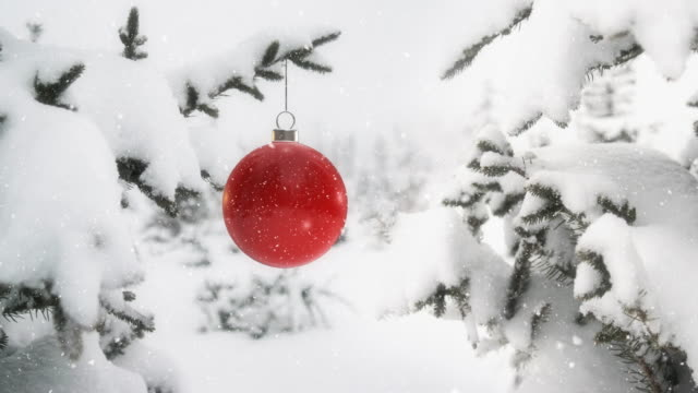 Red Ball On Christmas Tree Branch 4K - Loopable