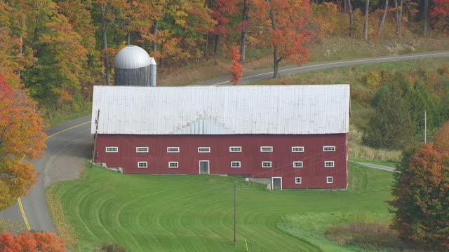 MS HA POV Red barn near road in autumn / Barnet, Caledonia County, Vermont, United States