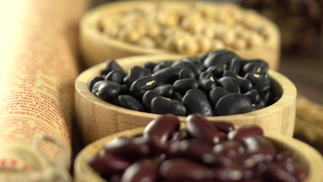 Red beans, mung beans, soy beans and black beans