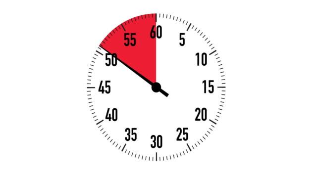 vídeos de stock, filmes e b-roll de gráfico do cronômetro de contagem regressiva vermelho & preto de 10 segundos sobre fundo branco - 10 seconds or greater
