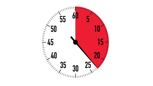 vídeos de stock e filmes b-roll de red & black 30-second countdown stopwatch graphic on white background - 30 seconds or greater